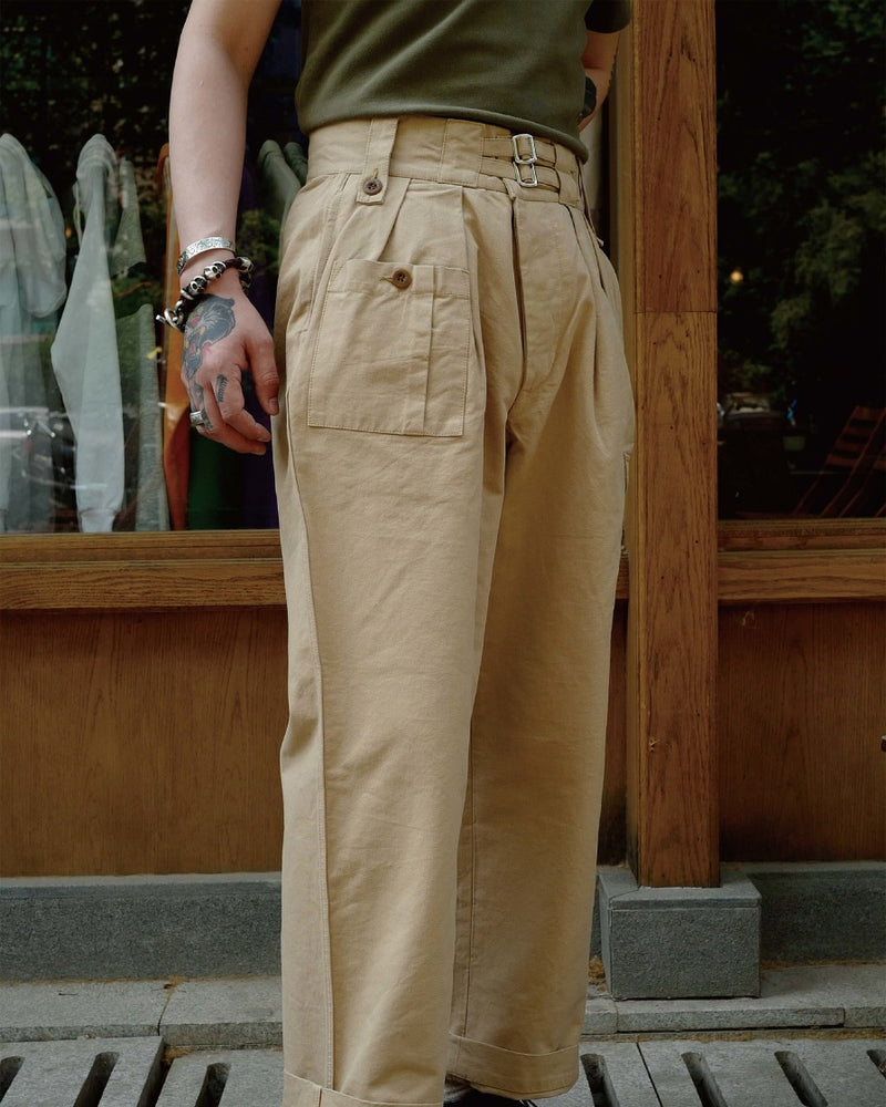 LabourUnion-clothing-american-retro-vintage-handmade-1940s-1960s-British-Army-Double-Buckle-Gurkha-Trousers-khaki-solid-colour-tee