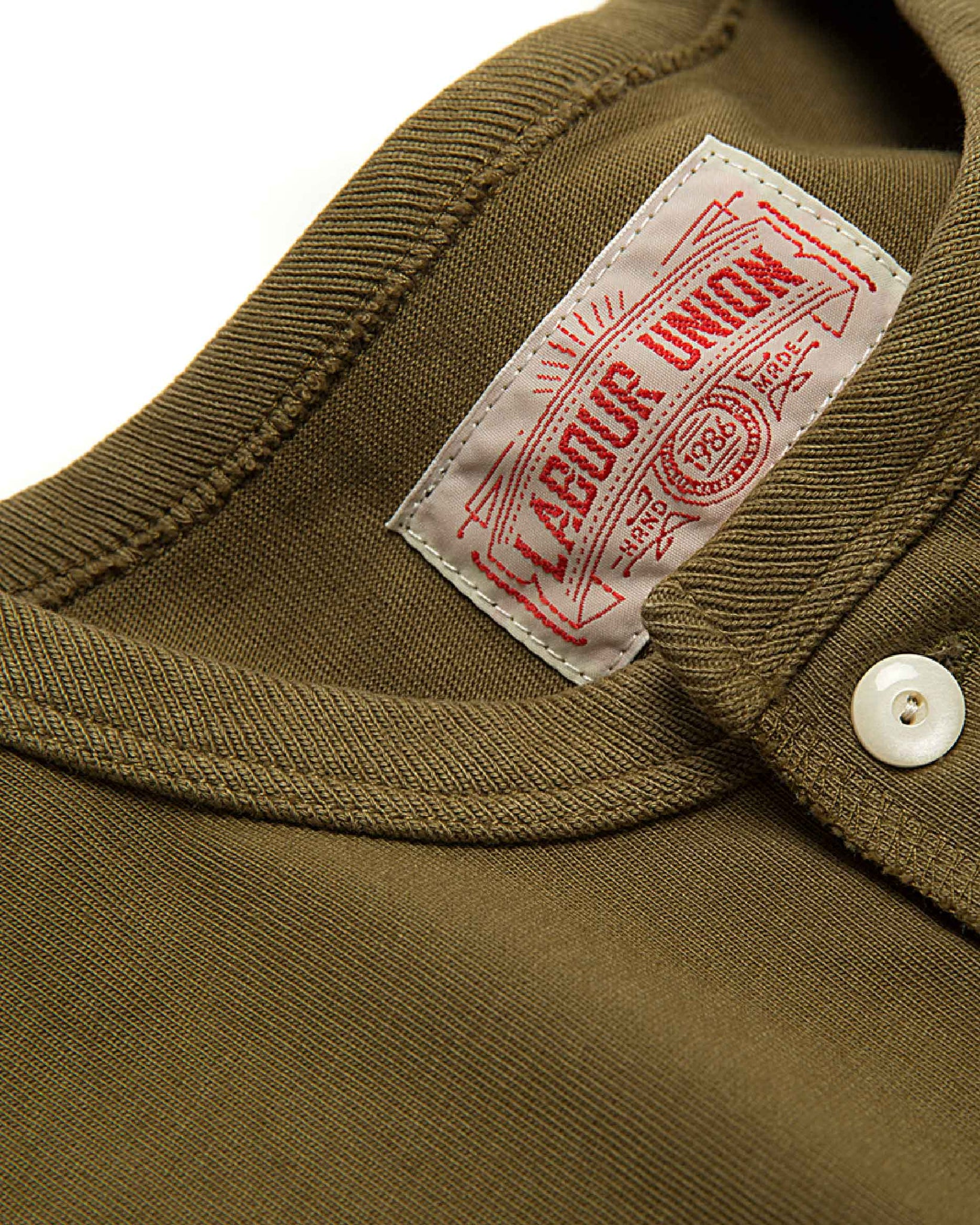 LabourUnion-clothing-american-retro-vintage-handmade-henley-tee-olive-neckline