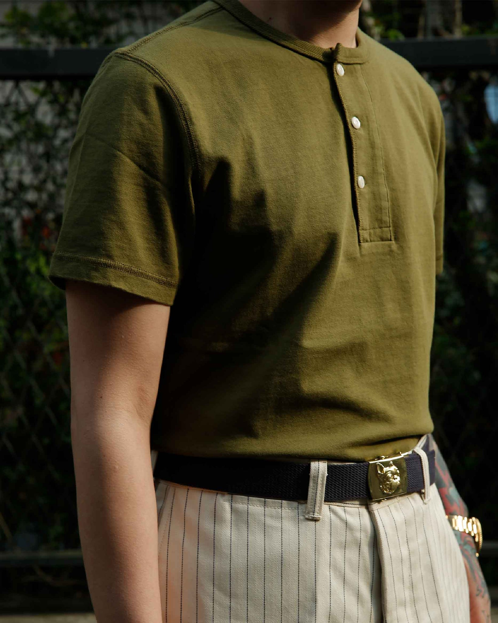 LabourUnion-clothing-american-retro-vintage-handmade-henley-tee-olive-pinstripe-wideleg-jeans