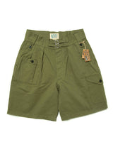LabourUnion-clothing-american-retro-vintage-handmade-menswear-shorts-British-Army-Double-Buckle -Gurkha-Shorts-green-front
