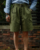 LabourUnion-clothing-american-retro-vintage-handmade-menswear-shorts-British-Army-Double-Buckle -Gurkha-Shorts-green