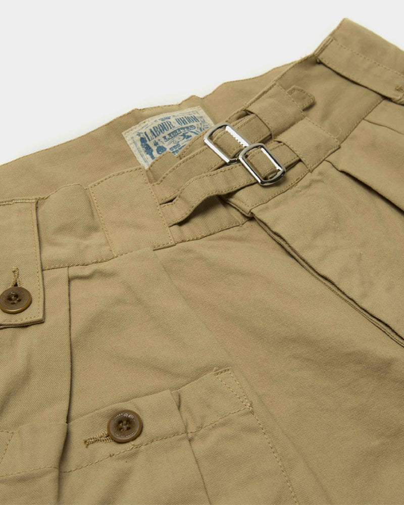 LabourUnion-clothing-american-retro-vintage-handmade-menswear-shorts-British-Army-Double-Buckle -Gurkha-Shorts-khaki-doublebuckle