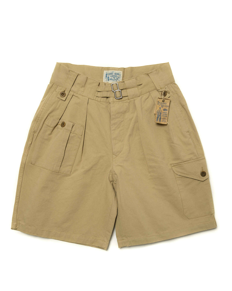LabourUnion-clothing-american-retro-vintage-handmade-menswear-shorts-British-Army-Double-Buckle-Gurkha-Shorts-khaki-front