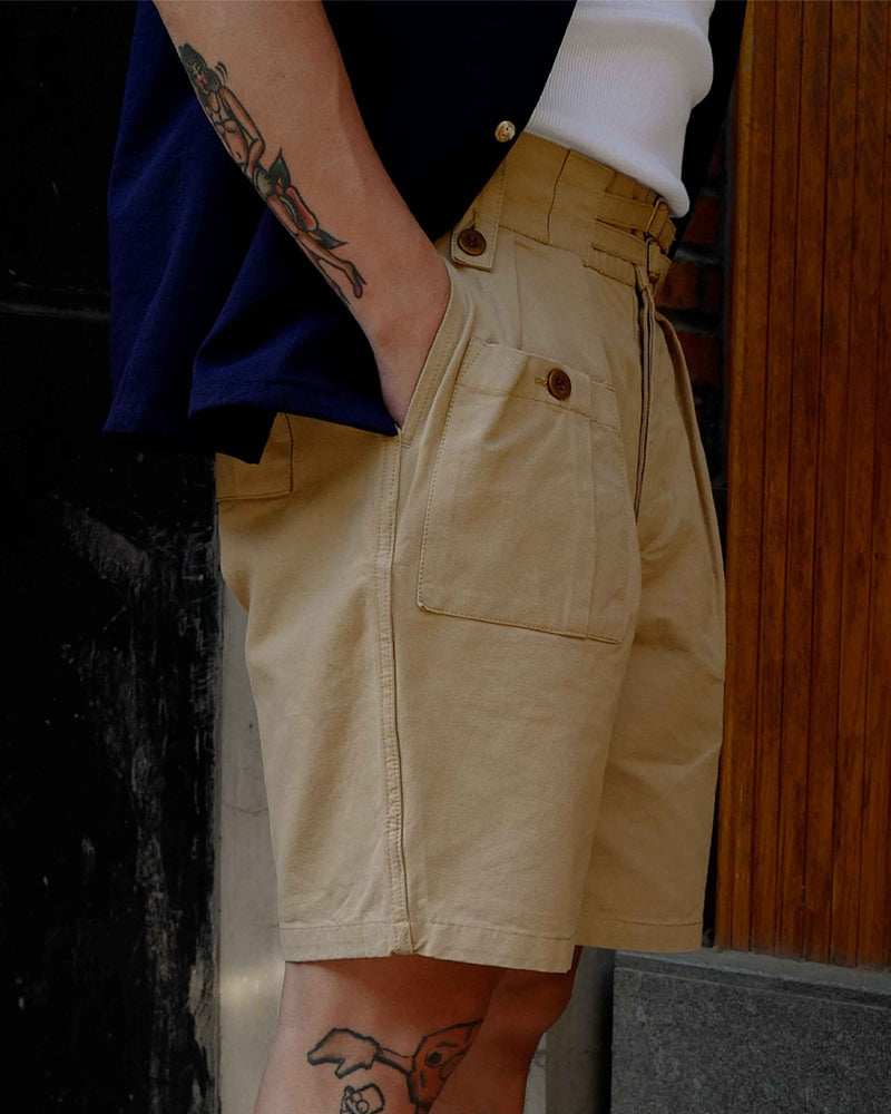 LabourUnion-clothing-american-retro-vintage-handmade-menswear-shorts-British-Army-Double-Buckle-Gurkha-Shorts-khaki-model-1