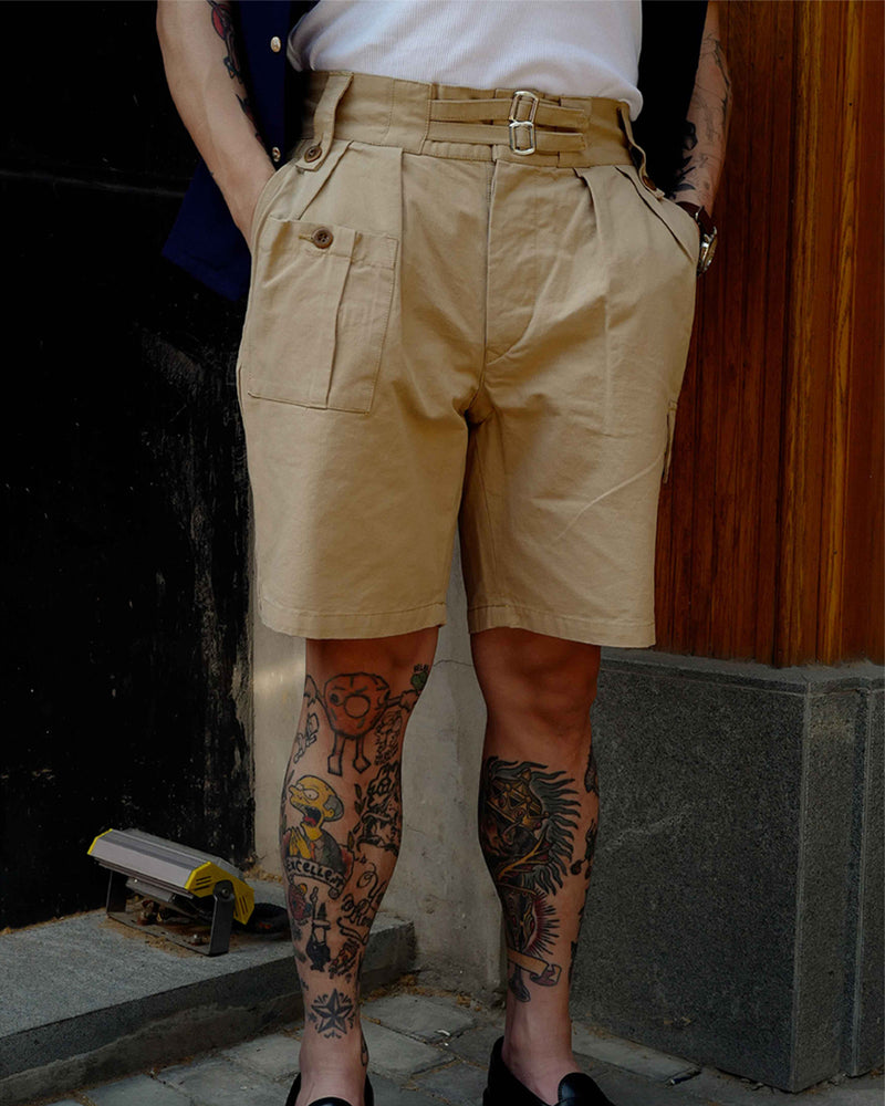 LabourUnion-clothing-american-retro-vintage-handmade-menswear-shorts-British-Army-Double-Buckle-Gurkha-Shorts-khaki-model