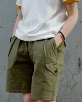 LabourUnion-handmade-clothing-american-retro-vintage-style-menswear-Australian-Army-Buckle-Gurkha-Shorts-green-1940s-crew-neck-tee
