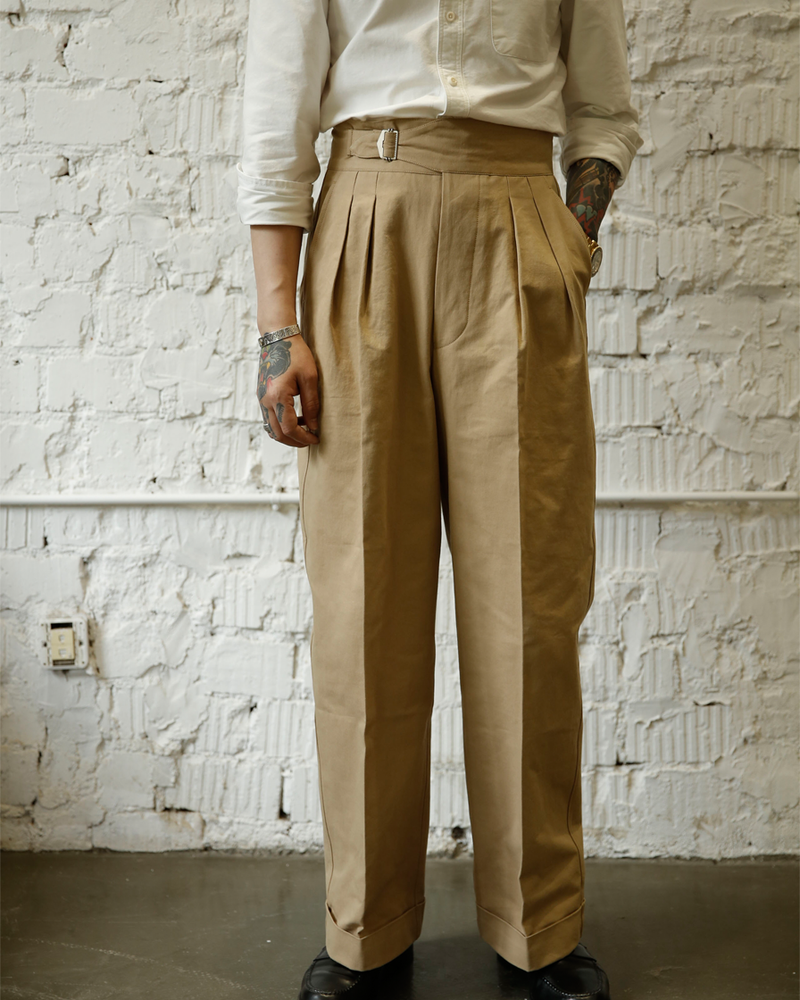 Labourunion-clothing-handemade-american-retro-vintage-style-menswear-Bottoms-LU168_Double_Pleated_Single_Buckle_Trouser