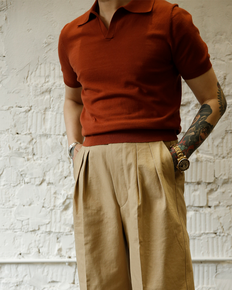 Labourunion-clothing-handemade-american-retro-vintage-style-menswear-tops-LU140_Orange_Fly_Coallr_Buttonless_jersey_Shirt