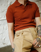 Labourunion-clothing-handemade-american-retro-vintage-style-menswear-tops-LU140_Orange_Fly_Coallr_Buttonless_polo_Shirt