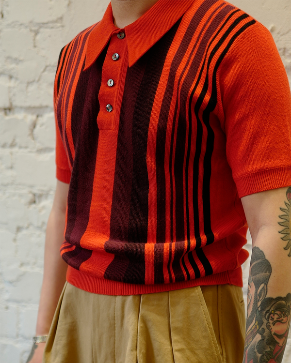 Labourunion-clothing-handemade-american-retro-vintage-style-menswear-tops-LU144_Orange_Striped_Knit_Polo_Shirt