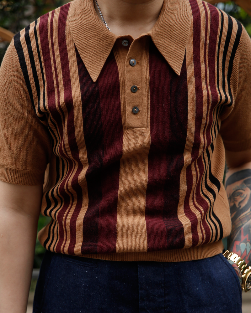 Labourunion-clothing-handemade-american-retro-vintage-style-menswear-tops-LU145_Camel_Striped_Knit_Polo_Shirt