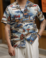 Labourunion_clothing_handemade_american_retro_vintage_style_menswear_ Surf_Burgers_Beach_Sky_Blue_Aloha_Shirt