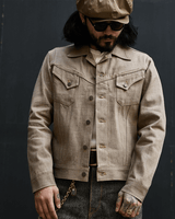 Labourunion_clothing_handemade_american_retro_vintage_style_menswear_ Western_Pockets_Brown_Denim_Jacket