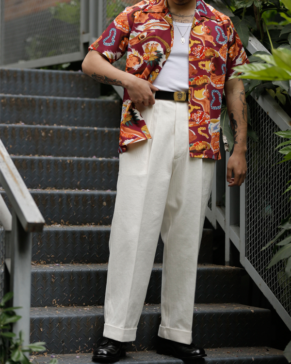 Labourunion_clothing_handemade_american_retro_vintage_style_menswear_Hongkong_Commander_Chevron_Pattern_Pleated_White_Trouser