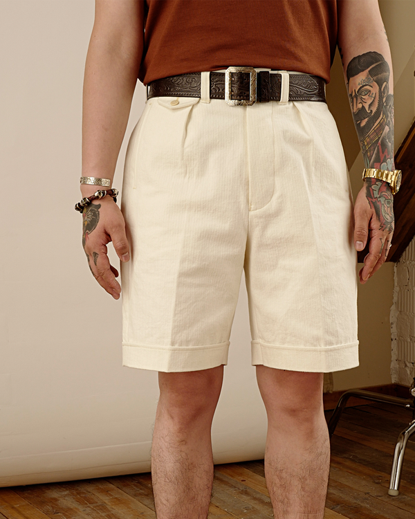 Labourunion_clothing_handemade_american_retro_vintage_style_menswear_Hongkong_Commander_Pleated_White_Shorts