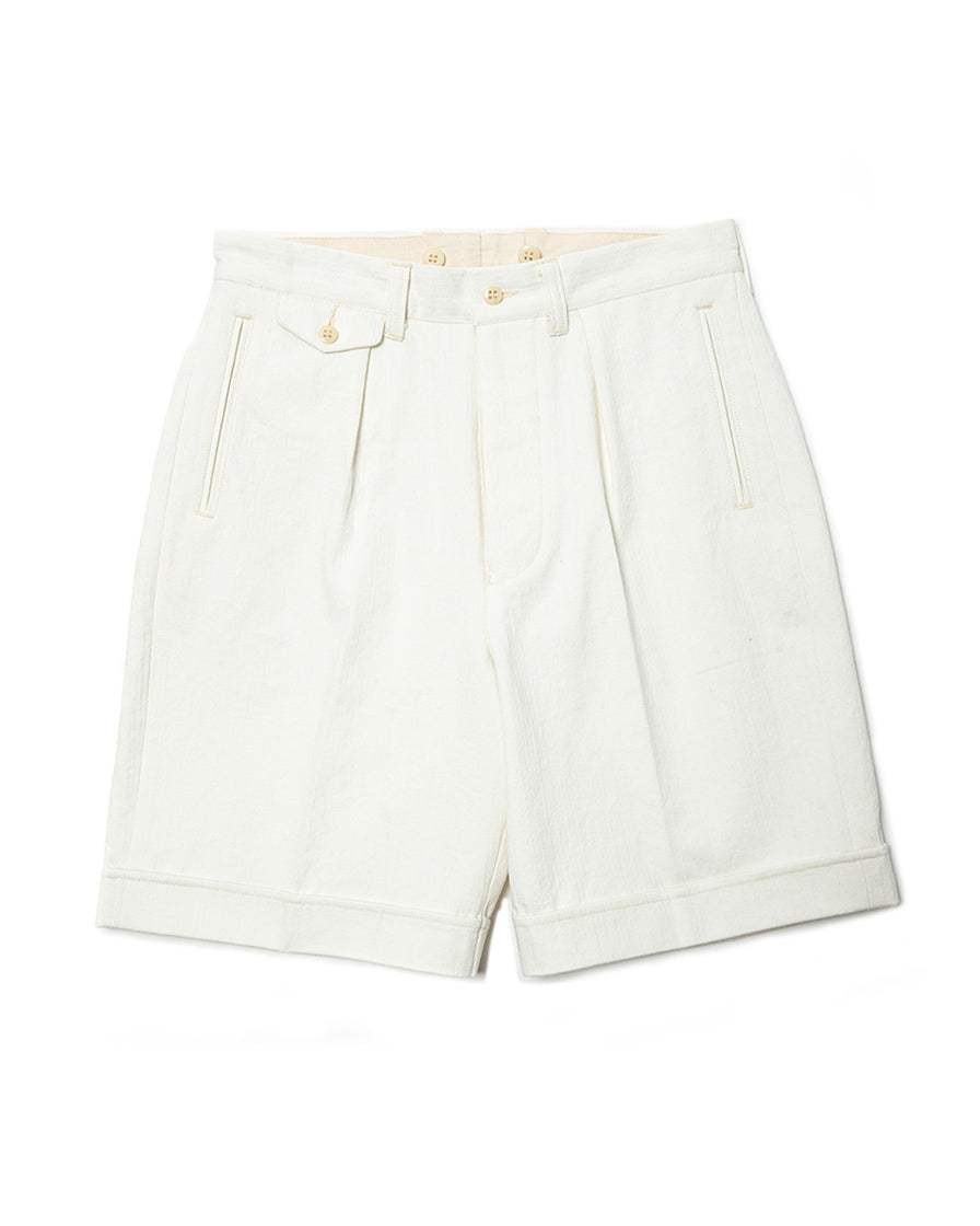 Commander Pleated White Shorts