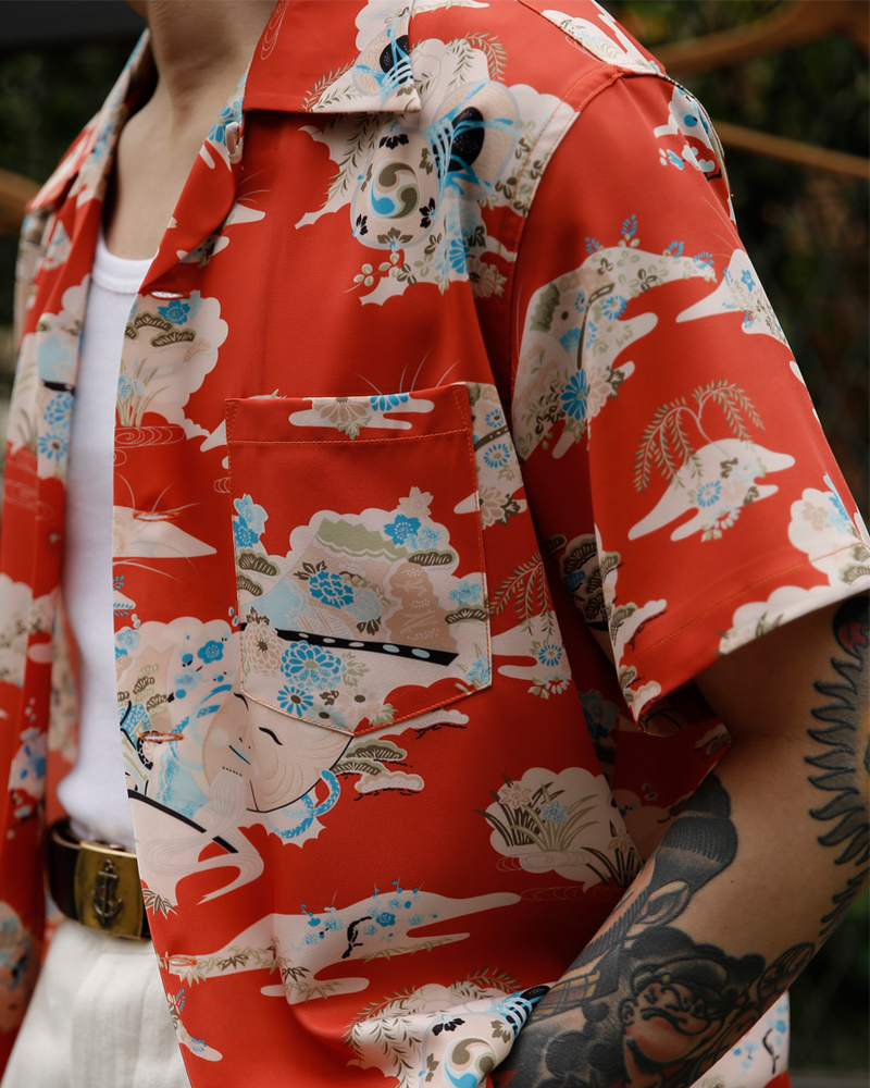 Labourunion_clothing_handemade_american_retro_vintage_style_menswear_Noh_Mask_kagura_Okina_Red_Aloha_Shirt