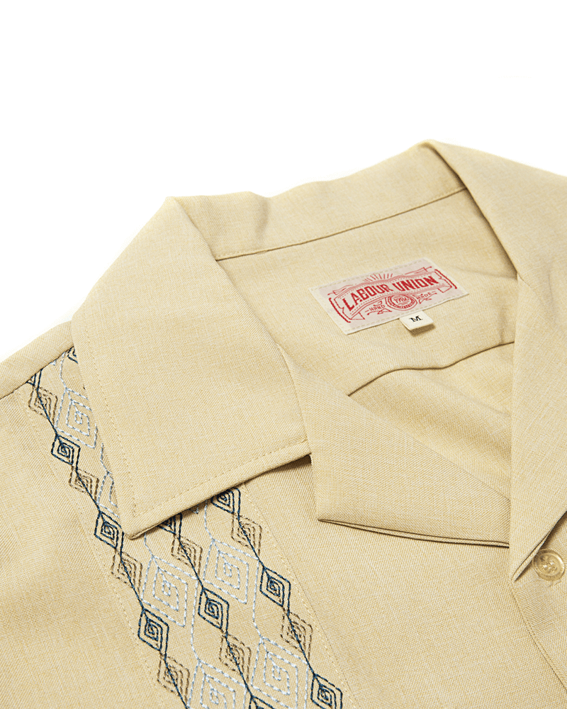 Labourunion_clothing_handemade_american_retro_vintage_style_menswear_Rhombus_Embroidery_Beige_Guayabera_Shirt