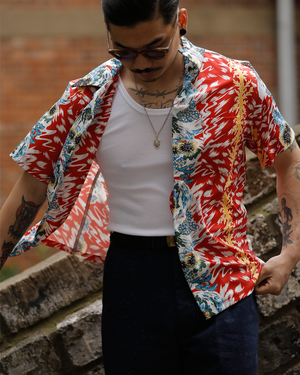 Labourunion_clothing_handemade_american_retro_vintage_style_menswear_Taraxacum_Red&Blue_Aloha_Shirt