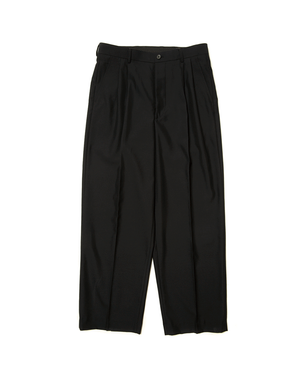 Worsted Wool Trousers-Black