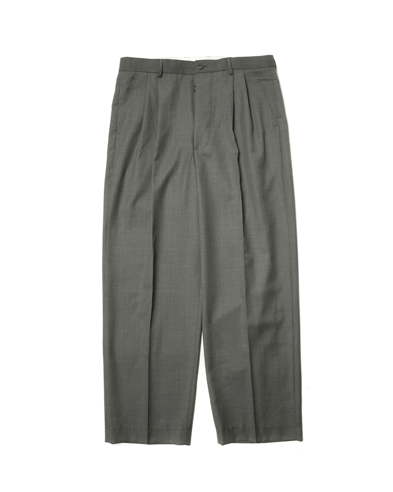 Worsted Wool Trousers-Grey