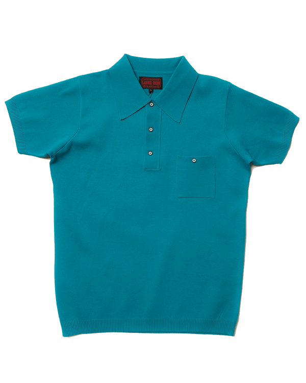 Labourunion_clothing_handemade_american_retro_vintage_style_menswear_tops_50s_greenbook_LakeBlue_Polo_Shirt