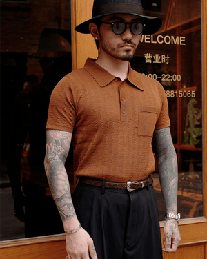 Labourunion_clothing_handemade_american_retro_vintage_style_menswear_tops_50s_greenbook_Rusty_Jaquard_Knit_Polo_Shirt