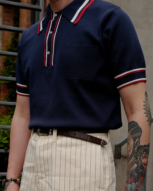 Labourunion_clothing_handemade_american_retro_vintage_style_menswear_tops_50s_greenbook_Striped_Collar_Polo_Shirt