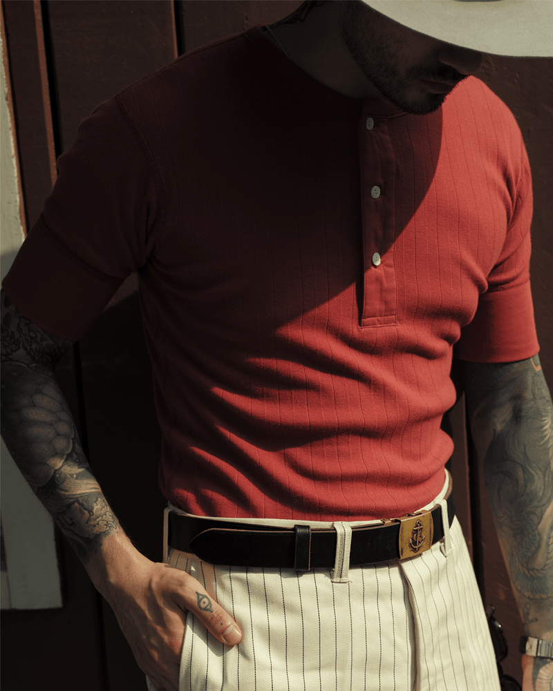 Labourunion_clothing_handemade_american_retro_vintage_style_menswear_tops_Striped_Slim_Fit_Henly_Shirt-Red