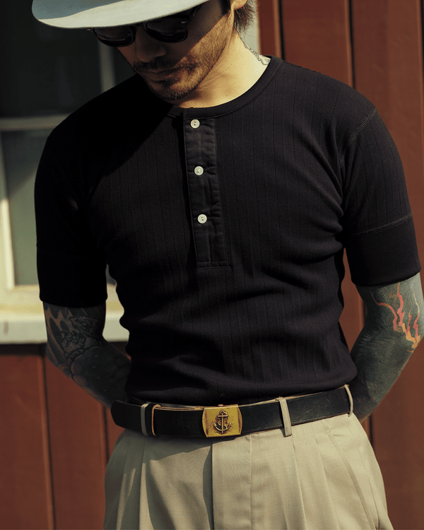 Labourunion_clothing_handemade_american_retro_vintage_style_menswear_tops_Striped_Slim_Fit_Henly_Shirt-Black