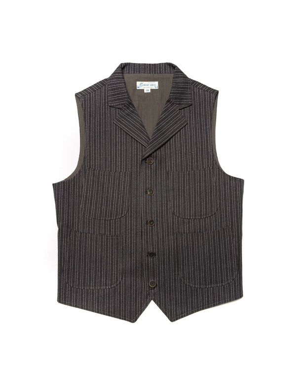 Twist Twill Striped Vest Black