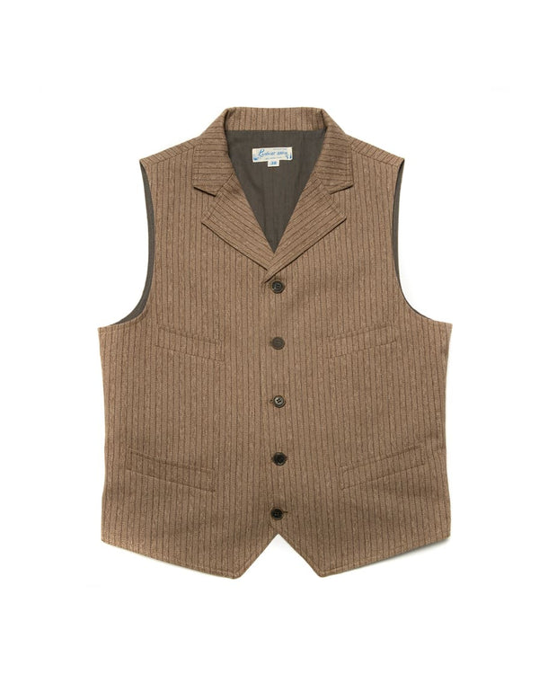 Mock Twill Pinstriped Vest Brown
