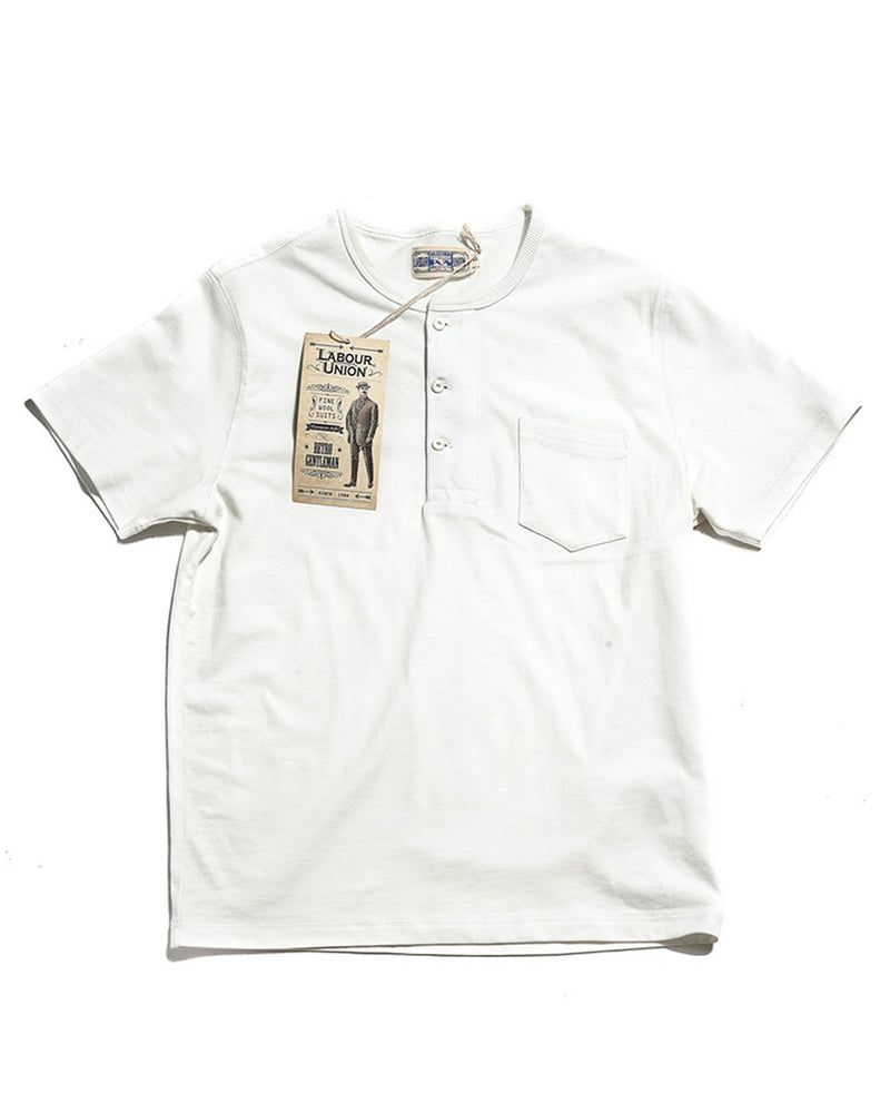 Labour Union-amrecian-retro-clothing-US Military Henley Shirt white
