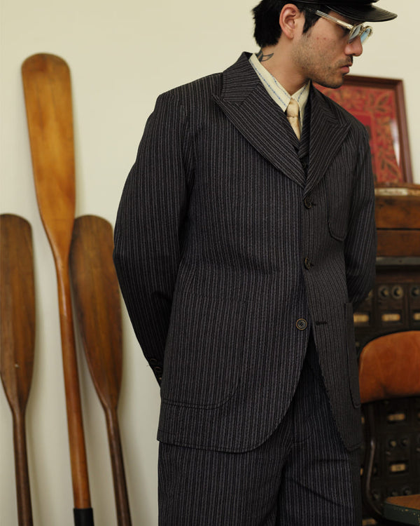 Twist Twill Peaked Lapel Suit Jacket Black