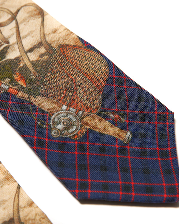 80's Worsted Wool Tie 'Fly-fishing Painting'