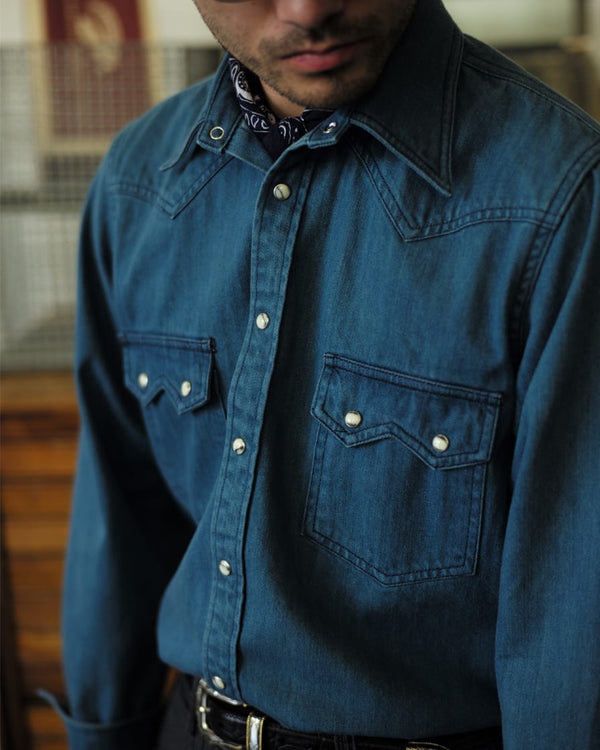 Rancher Western Shirt Washed Denim