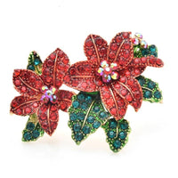 Amazing Red Flowers Brooch on a white background