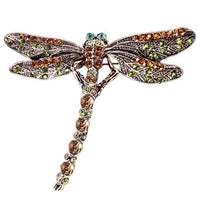 Stunning vintage dragonfly brooch on a white background