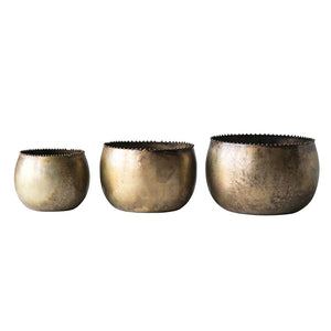 Aged Brass Planters (Set of 3)