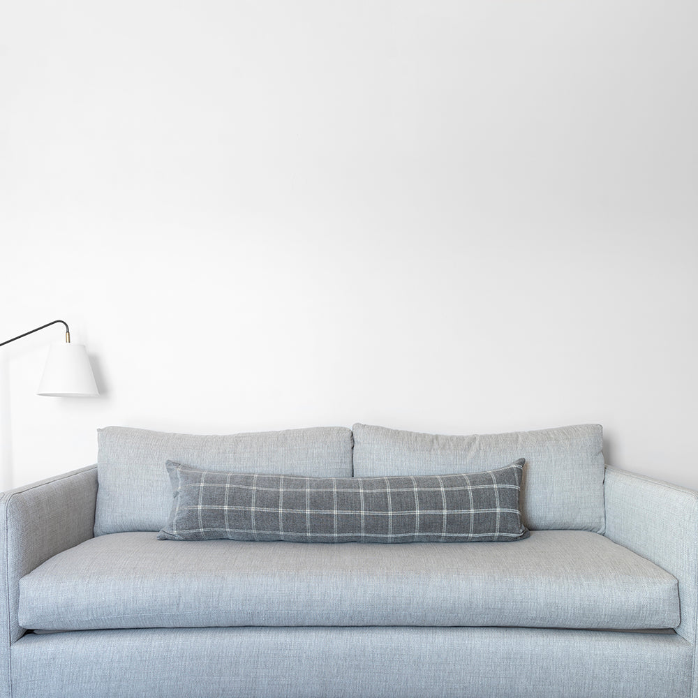 Load image into Gallery viewer, Gray Windowpane Lumbar Pillow