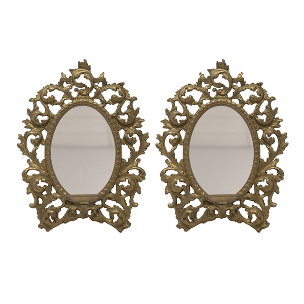 Load image into Gallery viewer, Ornate Candleholder Mirrors (Pair)