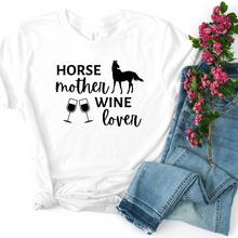 Load image into Gallery viewer, Horse Mother Wine Lover Short-Sleeve Unisex T-Shirt Black Text