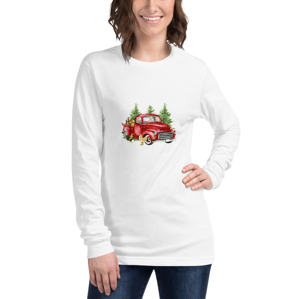 Holiday Red Truck Unisex Long Sleeve Tee