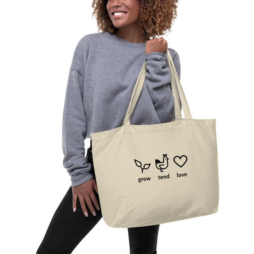 Grow, Tend, Love Large Organic Tote Bag