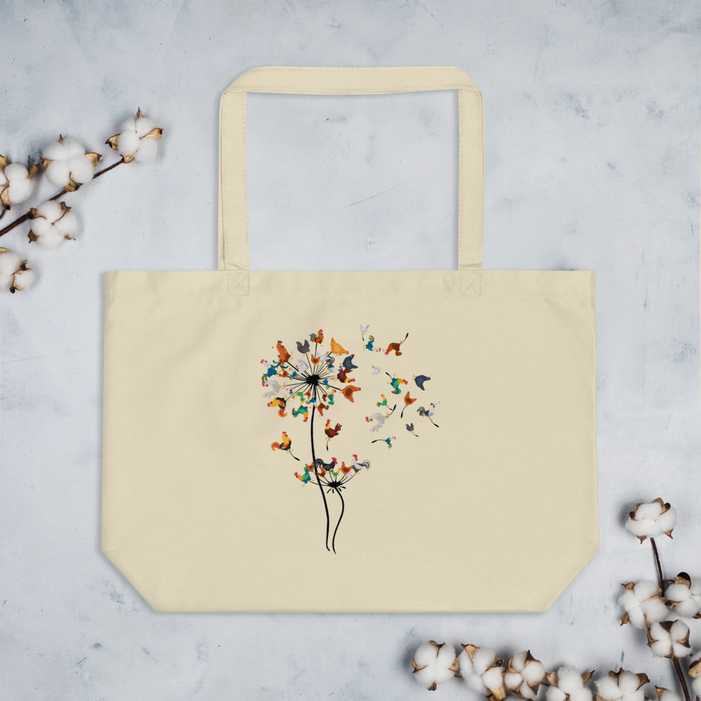 Chicken Dandelion large organic tote bag