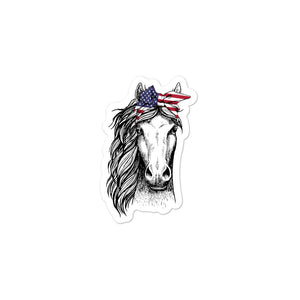Patriotic Horse Bubble-Free Stickers