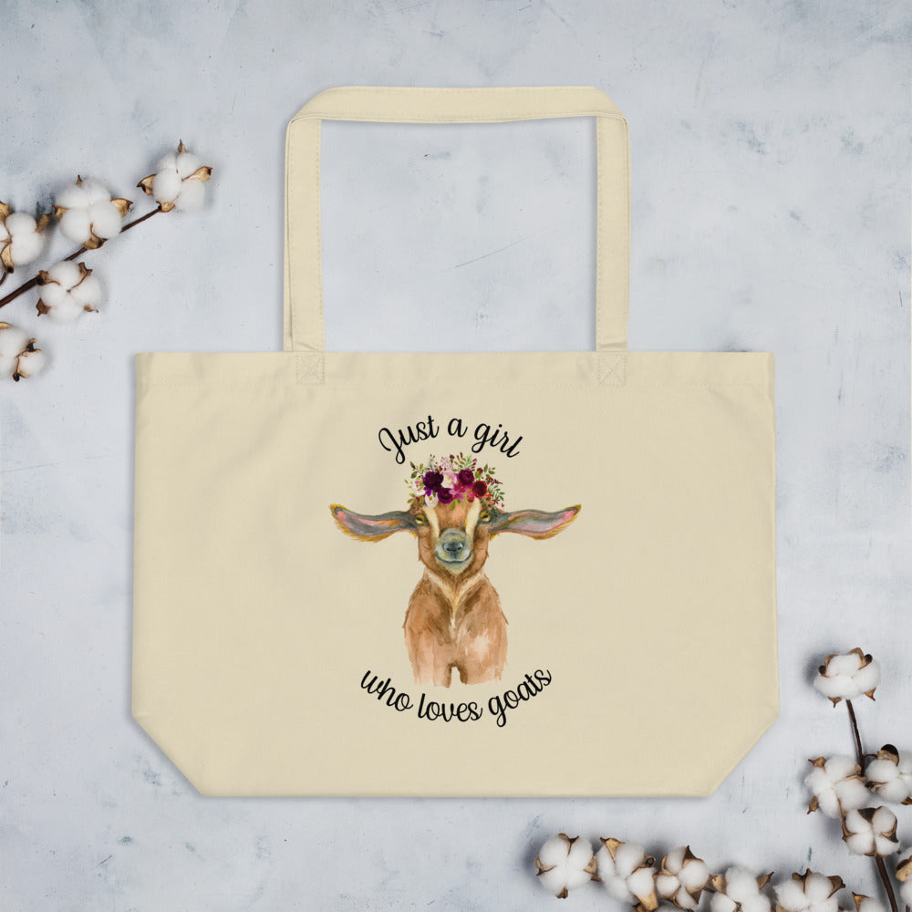 Just a Girl Who Loves Goats Large organic tote bag