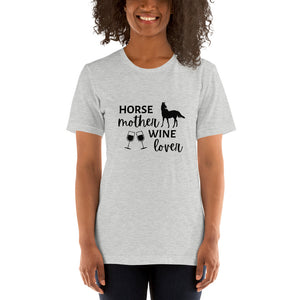 Horse Mother Wine Lover Short-Sleeve Unisex T-Shirt Black Text