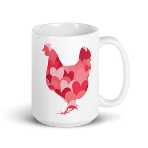 Chicken Silhouette Hearts Mug