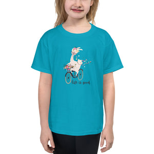Life is Good Llama Youth Short Sleeve T-Shirt